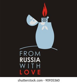 """Russian doll - matryoshka # 12. Drawing on the basis of the stylized image the nested dolls entering into a series """"From Russia with love""""."""