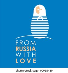 """Russian doll - matryoshka # 27. Drawing on the basis of the stylized image the nested dolls entering into a series """"From Russia with love""""."""