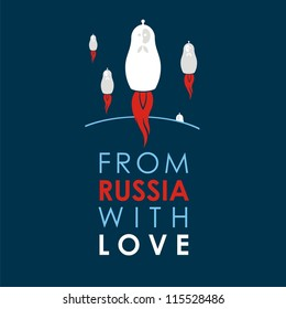 """Russian doll - matryoshka # 31. Drawing on the basis of the stylized image the nested dolls entering into a series """"From Russia with love""""."""