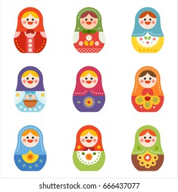Russian doll Matryoshka vector illustration flat design