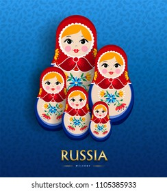 Russian doll poster for russia tourism. Traditional matrioska woman souvenir with floral dress on blue color background. EPS10 vector.