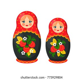 Russian doll toys from Santa Claus factory, ethic gift for children at Christmas celebration, vector illustration isolated on white background