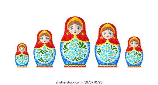 Russian Dolls Matrioshka, Five nested dolls, Babushka doll, Russian Souvenir