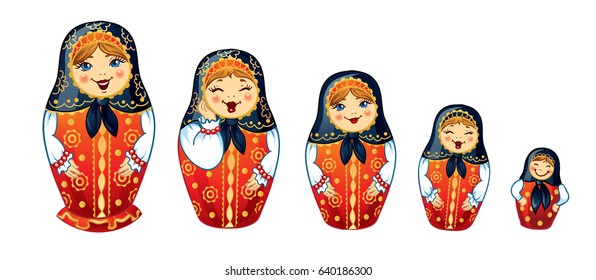 Russian Dolls Matrioshka. Five Russian nested doll, Babushka doll, Russian Souvenir, present.
