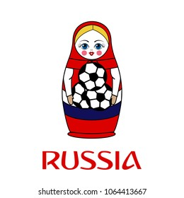 Russian dolls - matryoshka. Isolated on white. Vector illustration.