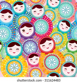 Russian dolls matryoshka, pink blue green colors colorful bright, seamless pattern. Vector