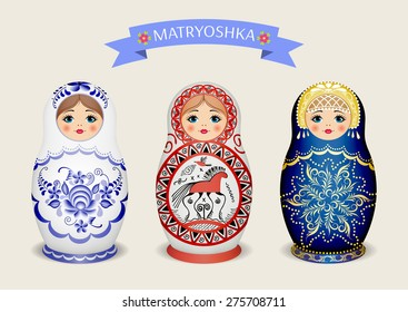 Russian dolls - matryoshka. Vector illustration