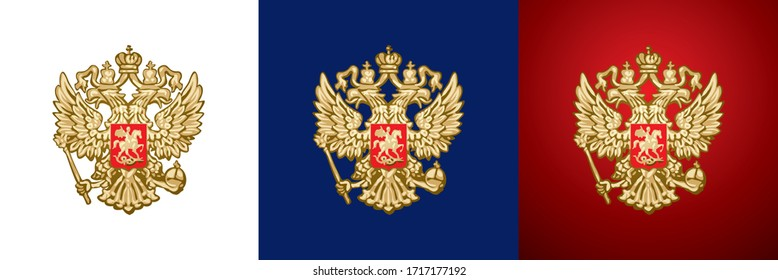 Russian Double-headed eagle, gold handcraft Russian Empire and Russian Federation heraldic coat of arms handmade author vector version on a transparent, white, blue and red background