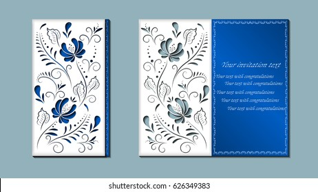 Russian drawing gzhel. Laser cutting. Greeting card with flowers Russian ornament. Vector illustration