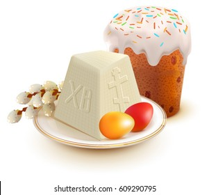 Russian Easter cake, cottage cheese, colorful eggs and willow branch. Isolated on white vector illustration