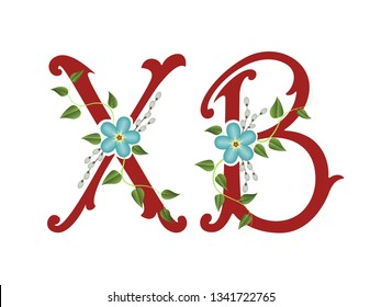 Russian easter. Vector Orthodox Easter illustration. Russian abbreviation letters for Christ is Risen with forget-me-not flowers and willow branches. For greeting card, banner, poster.