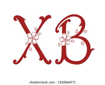 Russian easter. Vector Orthodox Easter illustration. Monochrome Russian abbreviation letters for Christ is Risen with forget-me-not flowers. For greeting card, banner, poster, social media, web pages