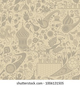 Russian ecru seamless pattern, world of Russia background with modern and traditional elements, 2018 trend, vector illustration