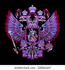 Russian emblem in the tricolor on black background
