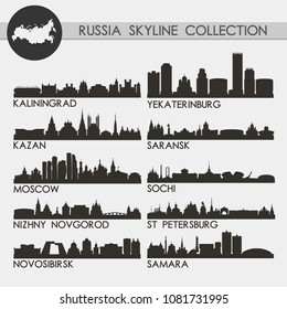 Russian Famous Skyline Silhouette Icon Flat Vector Design Collection Set