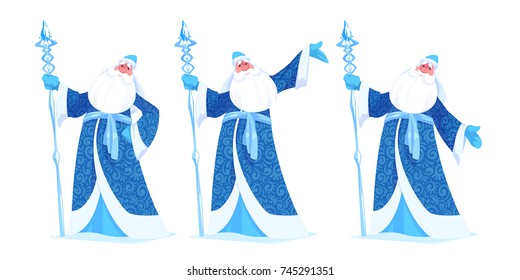"""Russian Father Frost or """"Ded Moroz"""" in blue color. Vector cartoon illustration."""