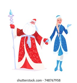 """Russian Father Frost also known as """"Ded Moroz""""  and his granddaughter """"Sneguroschka"""". Vector cartoon illustration."""