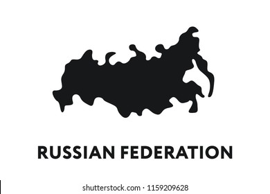 Russian Federation Country Map Shape Border. Minimal Color Flat Line Outline Stroke Icon.
