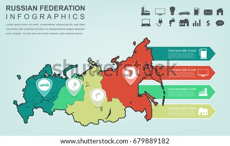 Russian Federation Map Infographic Elements Infographics Stock ...
