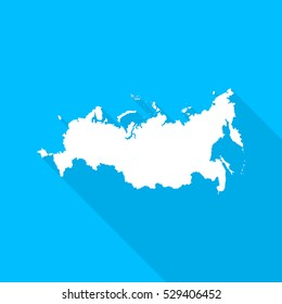 Russian Federation map with long shadow on blue background. Russian Federation map icon.
