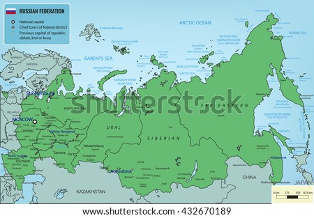 Russian Federation Map Selectable Territories Vector Stock ...