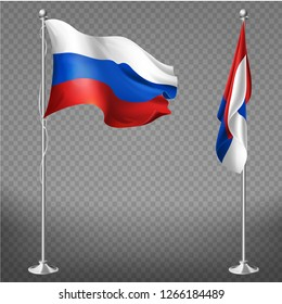 Russian Federation official national tricolor flag fluttering in wind and lying calm on metal flagpole 3d realistic vector illustration isolated on transparent background. Russia national symbolic