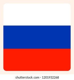 Russian Federation square flag button, social media communication sign, business icon.