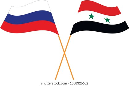 Russian Federation, Syrian Arab Republic. National flags. Abstract concept, icon set. Vector illustration.