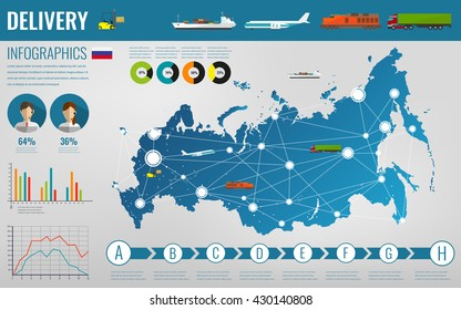 Russian Federation transportation and logistics. Delivery and shipping infographic elements. Vector illustration