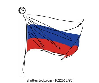 Russian Flag Continuous Line Vector