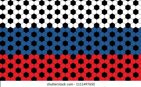 Russian Flag with Football Soccer Ball Hexagon Design Horizontally Seamless Vector Pattern. Red, Blue, White Hexagonal Print with Black Soccer Ball Pattern Overlay. Pattern Swatch Included.