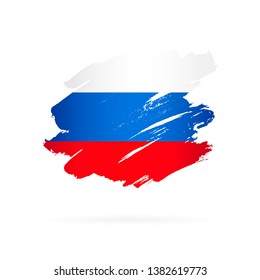 Russian flag. Vector illustration on white background. Brush strokes drawn by hand.
