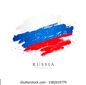 Russian flag. Vector illustration on white background. Brush strokes drawn by hand. Independence Day of Russia.