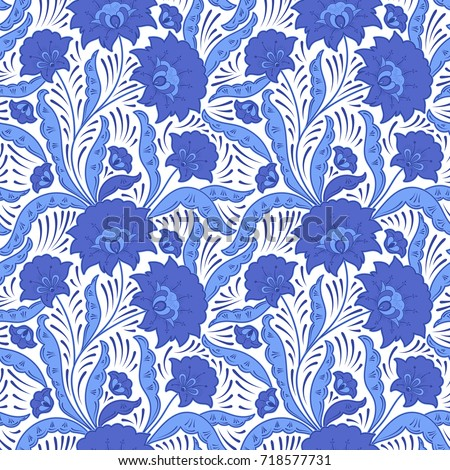 9ab3104218aa Russian floral pattern seamless vector. Traditional folk style gzhel flower  blue white background. Design