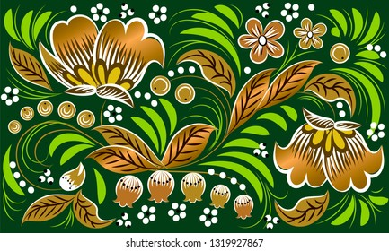 Russian folk pattern in gold on green background. Khokhloma
