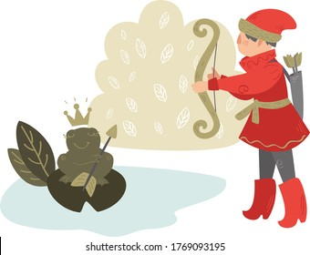 Russian folk tales. A man in a national red suit, prince with a bow shoots in a swamp.  Princess frog with an arrow in paws and in the crown on a sheet of water lilies. Vector illustration
