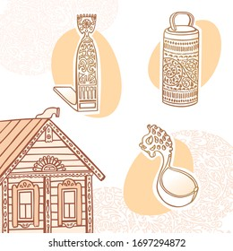 Russian folk wood carving. Hand drawn illustration of national hut, spinning wool, ladle, box, curved window shutters. Vector template for history album