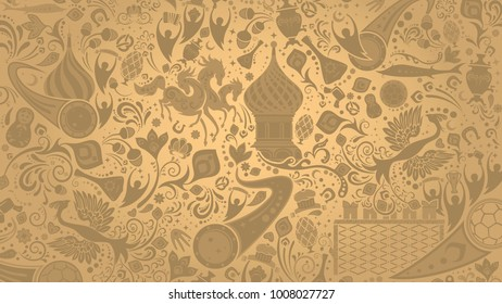 Russian gold wallpaper, 16:9 aspect ratio, world of Russia pattern with modern and traditional elements, 2018 trend, vector illustration
