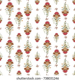 Russian golden khokhloma floral decorative garland and small flowers bouquet vector seamless pattern. Beautiful Vintage ethnic floral Illustration on white background.
