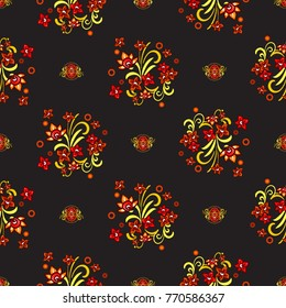 Russian golden khokhloma small flowers bouquet and decorative bouquets vector seamless pattern. Beautiful vintage ethnic floral Illustration on black background.