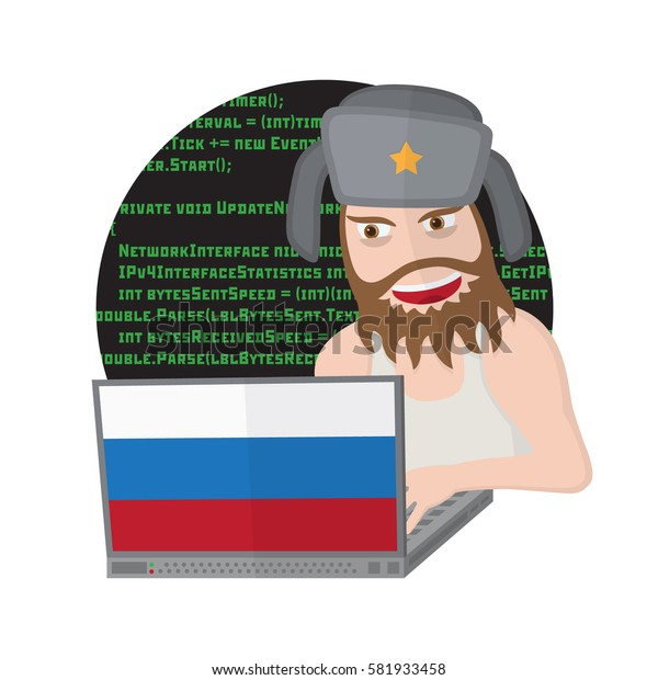 Russian hacker with laptop