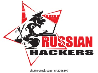 Russian hackers. Bear on the background of the Moscow Kremlin sits at the computer. Stars, balalaika, hammer and sickle, all the attributes are present. Vector.
