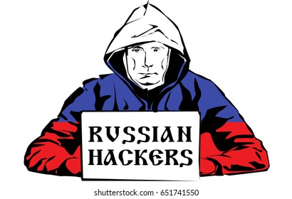 Russian hackers. Black and white drawing.Russian flag. Vector