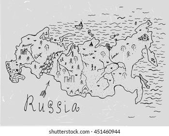 Russian hand drawn map. Editable vector illustration. Geographical concept in plain funny style on a textured background. Ink drawing concept.