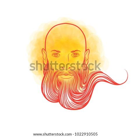 Russian Hero Man Beard Symbol Strength Stock Vector Royalty Free