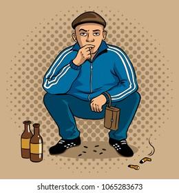 russian hooligan man pop art retro vector illustration. Colorful background. Comic book style imitation.