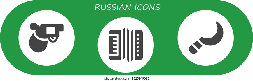 russian icon set. 3 filled russian icons.  Simple modern icons about  - Pistol, Accordion, Sickle
