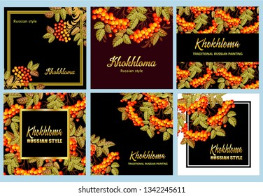 Russian Khokhloma painting ,Russian style decoration and design templates, vector graphics. Collection of Banners with text