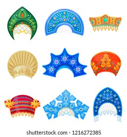 Russian kokoshnik traditional hat with ornament set. Russian headdress for women. Vector flat style cartoon illustration isolated on white background