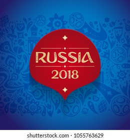 Russian label blue wallpaper, world of Russia pattern with modern and traditional elements, 2018 trend background, vector illustration. World of russian elements vector illustration football
